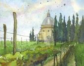 watercolor landscape- Pozzo della Chiana- italy art print