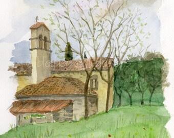 tuscan watercolor landscape- Old Village Chapel- art  print