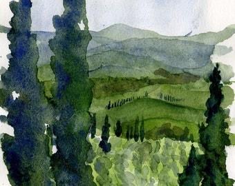 italian watercolor landscape- Pienza's cypress- watercolor print