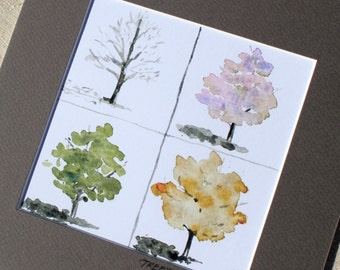 watercolor seasons- A Tree's Clothes- 5x5 print matted to 8x8