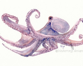 ocean watercolor- Octopus- animal art print