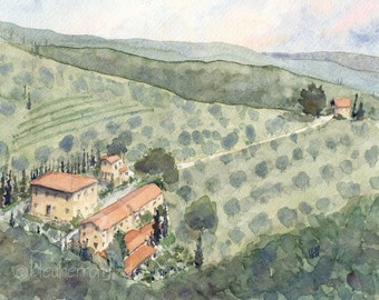 italy watercolor landscape - Tuscan Villa - watercolor art print