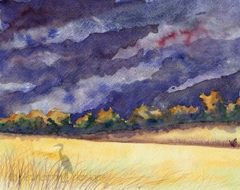 landscape watercolor- Harvest Storm- art print