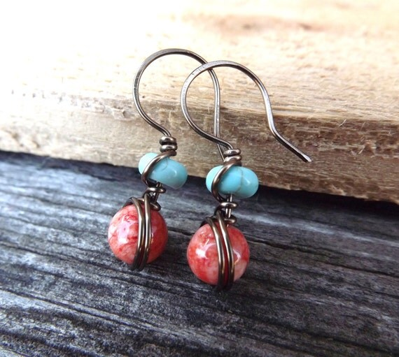 salmon ruby jade and turquoise howlite brass wire wrapped earrings free shipping