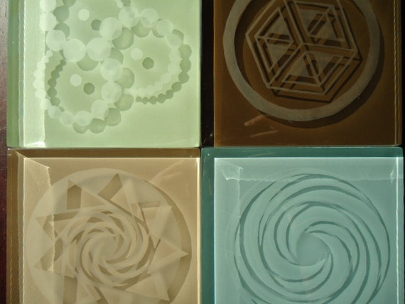 Crop Circle Series Etched Glass Coasters Set of 4 -  You Choose Colors & Designs Seafoam Sky Blue Tan Cocoa Fractal 3D Sacred Geometry