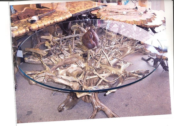 Items similar to gd8 tree root dining table with 60 inch for Tree root dining table