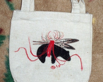 Small Canvas Tote w/ Handpainted - American Indian - Bear Fetish