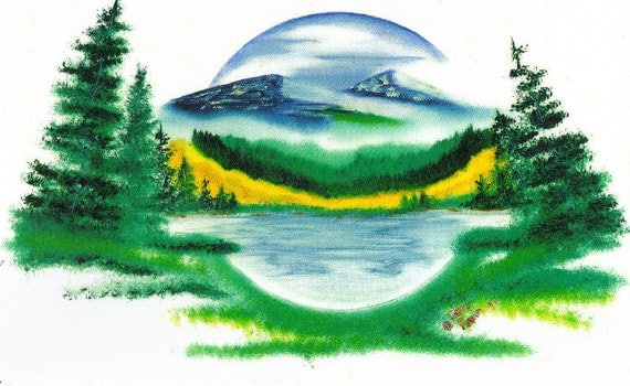 Copy of Original Artwork ( Rocky Mountain Lake) oil painting Art Painted Picture Decorate Wall Art Landscape American  Indian  NDN Gift Idea