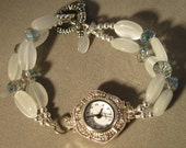 Watch, White Watch, Crystals and Gemstone Watch, Cats Eyes and Crystals