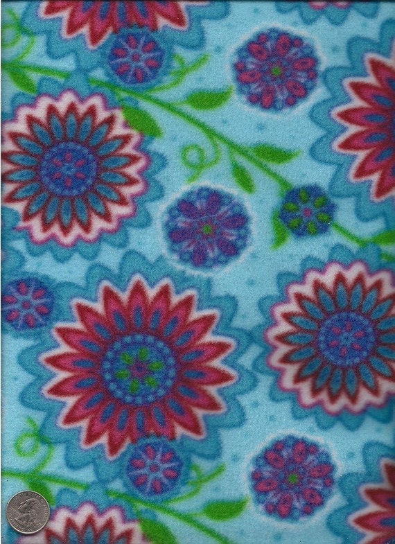 Fleece Fabric Blue with Bright Flowers 1/2 Yard Y0162