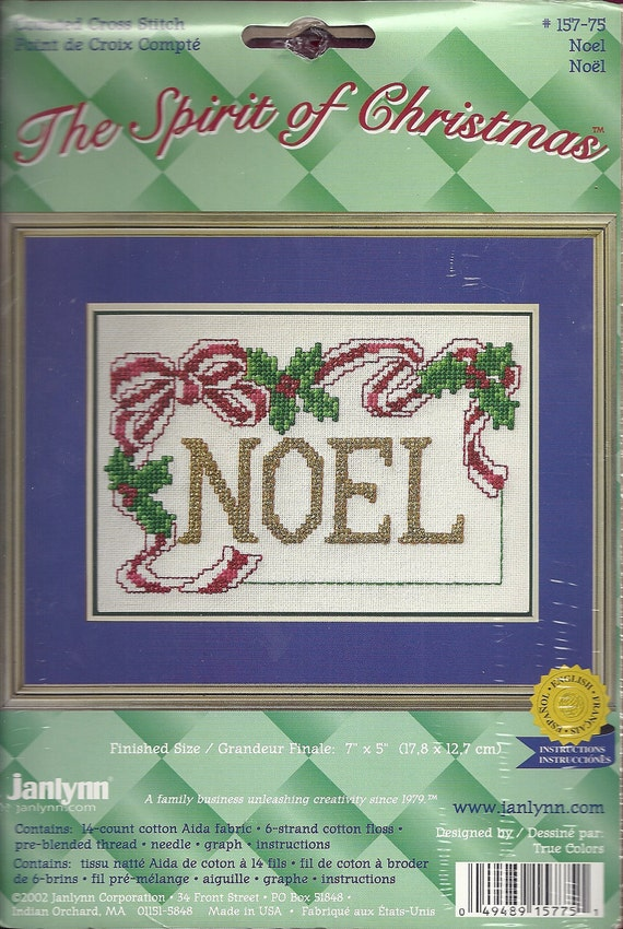 Christmas Counted Cross Stitch Kit Noel with Holly and Bow