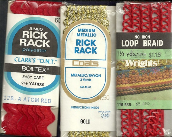 Loop Braid,  Rick Rack In Package SN0014  3 Packages Red Gold