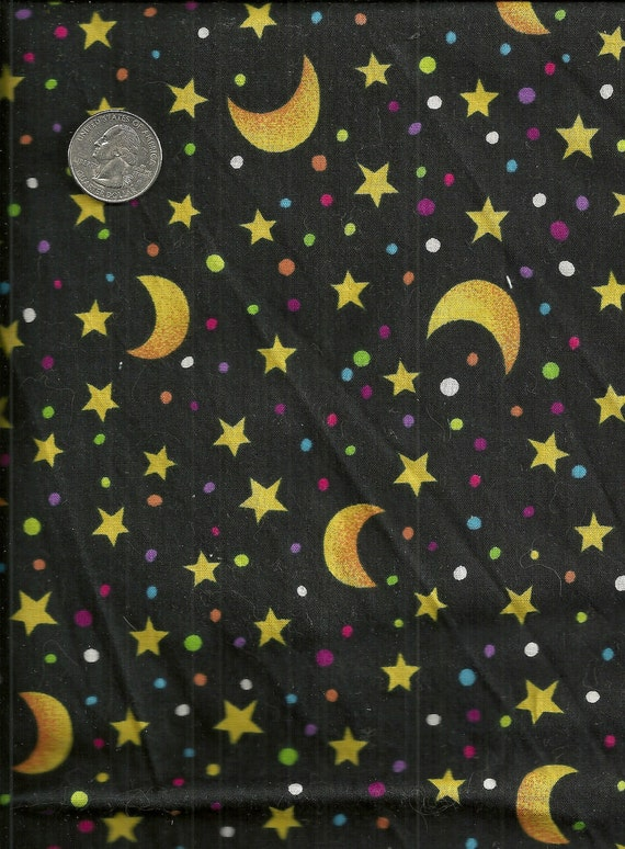 Cotton stars and moon print fabric black by for Moon and stars fabric