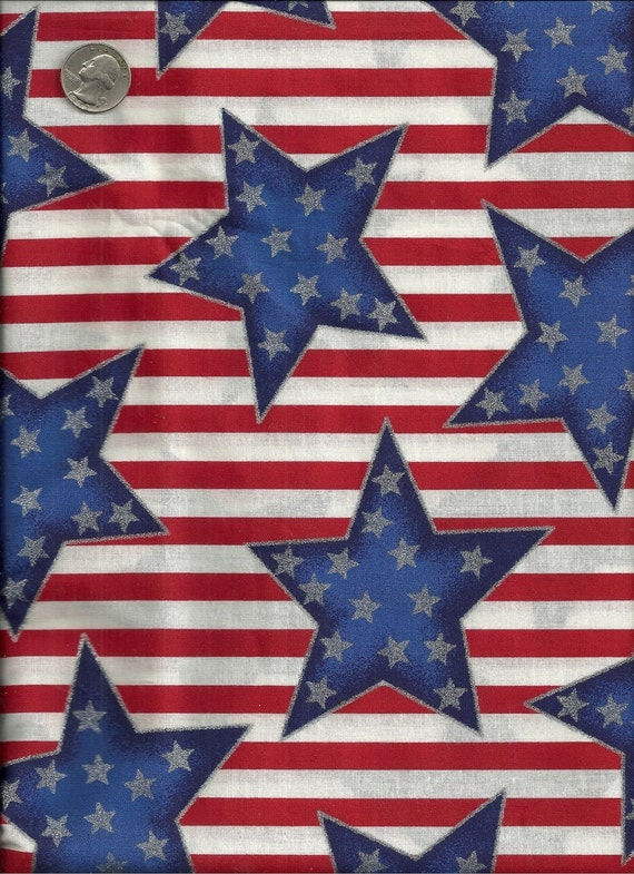 Cotton Star Print Fabric Patriotic Red, White, Blue 2 Pieces 1 1/2 Yards Each X0110