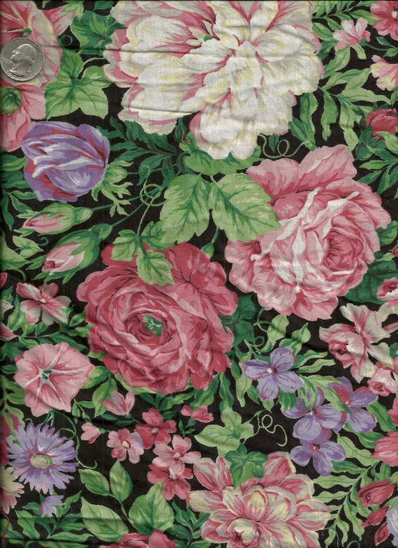 Pink and Purple Floral Cotton Fabric 2 1/2 Yards X0112