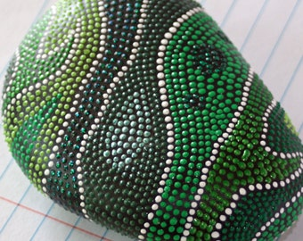 Swirled Shades of Green Hand Painted Dot Rock