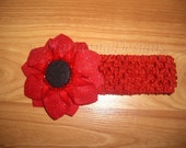 Headband with sparkling felt flower Red