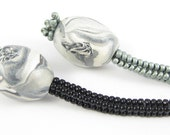 Black and Silver Lariat - Beadwoven Necklace