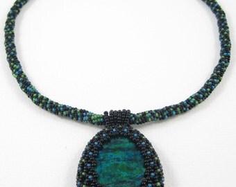 Blue Green Necklace - Beadwoven Azurite Malachite Stone