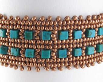 Turquoise Bracelet - Beadwoven Stone - Copper Cuff