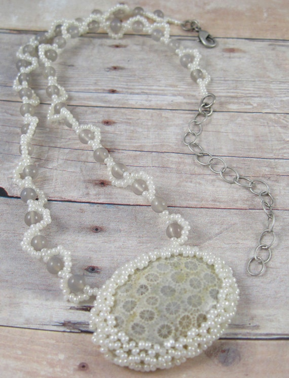 Beadwoven Coral Fossil Necklace with Agate - beige - cream - off-white - grey - With Matching Bracelet