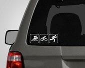 Triathlon Decal - Swim, Bike, Run Decal - Triathlon Sticker - Vinyl Car Decal - Car Sticker BAS-0141