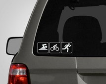 Triathlon Decal - Swim, Bike, Run Decal - Triathlon Sticker - Vinyl Car Decal - Car Sticker BAS-0141