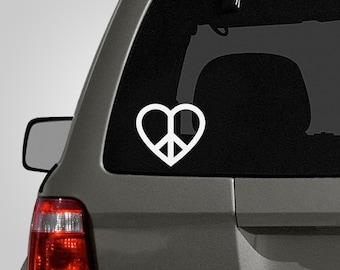 Peace & Heart Decal - Peace Love Sign - Peace Sign Sticker - Car Decal - Vinyl Decal BAS-0168