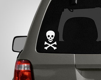 Skull and Crossbones Decal - Skull and Crossbones Sticker - Pirate - Vinyl Car Decal BAS-0183