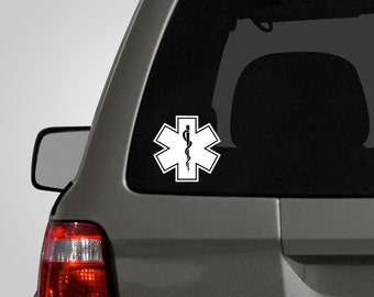 Star of Life Decal - Medical Symbol - EMT Sticker - Paramedic Firefighter Vinyl Car Decal BAS-0189