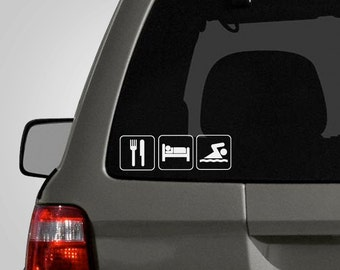 Eat, Sleep, Swim Decal - Swim Decal - Swimmer Sticker - Swimming - Vinyl Car Decal BAS-0140