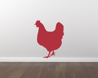 Chicken Hen Wall Decal - Hen Chicken Sticker - Kitchen Decor - Removable Wall Decal - Matte Vinyl Wall Decal WAL-A141