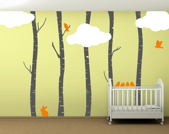 Birch Trees with Clouds and Birds Wall Decal - WAL-2110