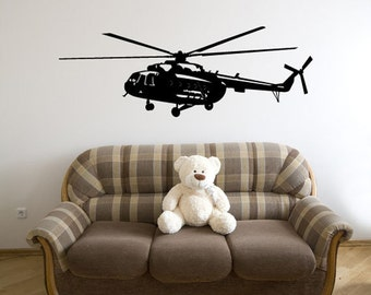Helicopter Wall Decal - Chopper Wall Decal - Children's Room Matte Wall Decal WAL-A123