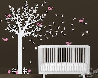 Cute Tree Wall Decal - Kids Room Decor - Birds and Tree Wall Sticker - WAL-2104A