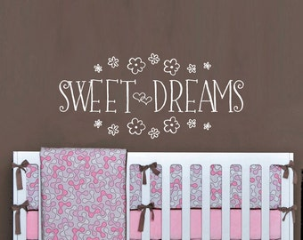 Sweet Dreams Vinyl Wall Quote, Wall Words, Baby Nursery Vinyl Wall Decals WAL-A139