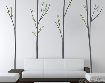 Tall Skinny Trees with Branches and Leaves Floor-to-Ceiling Wall Decal - WAL-2146B