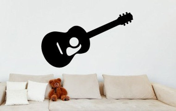 guitar wall decal acoustic guitar wall decal guitar. Black Bedroom Furniture Sets. Home Design Ideas