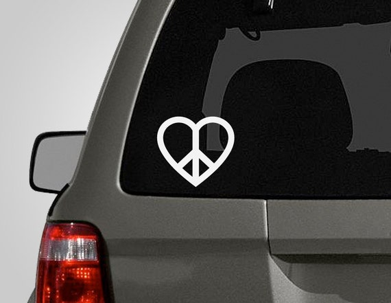 Peace & Heart Decal - Peace Love Sign - Peace Sign Sticker - Car Decal - Vinyl Decal BAS-0168