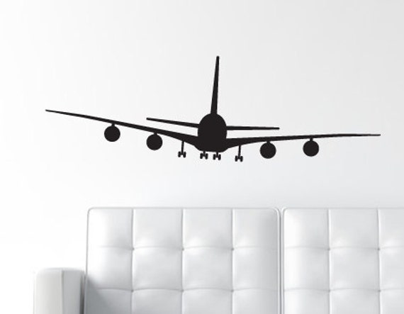 Airplane Wall Decal Jumbo Jet Decal Aircraft Wall Art - Vinyl wall decals airplane
