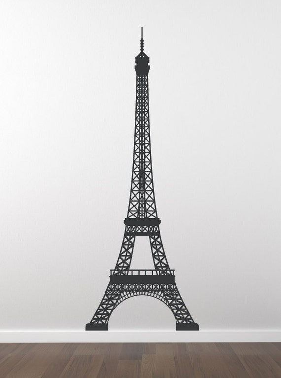 bonjour eiffel tower wall decal wal a117. Black Bedroom Furniture Sets. Home Design Ideas