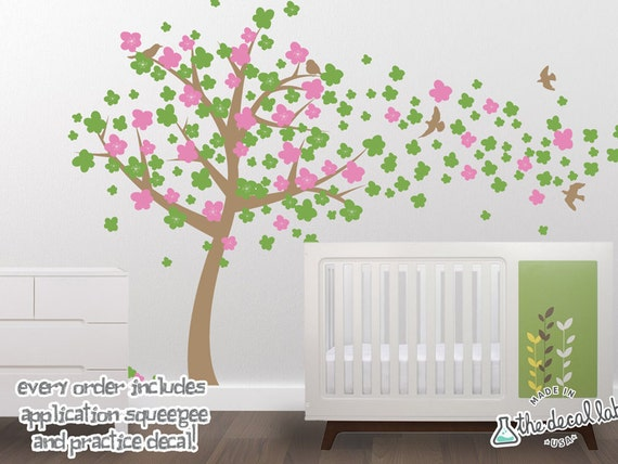 Wall Tree Decal with Windy Blossoms - Cherry Tree Wall Decal - Wall Sticker Tree - WAL-2121