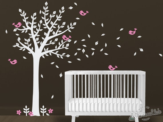 Tree Wall Decal with Birds - Wall Tree and Birds Decal - Kids Room Decal Tree - WAL-2104A