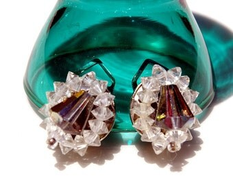 Vintage  Austrian CrystalClip On Earrings