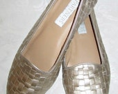 SALE - Vintage Light Gold Metallic Leather Woven Flats - Size 7 1/2 M
