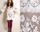 Vintage 60s boho COTTON two-tone LACE bell sleeve MINI dress tunic M L