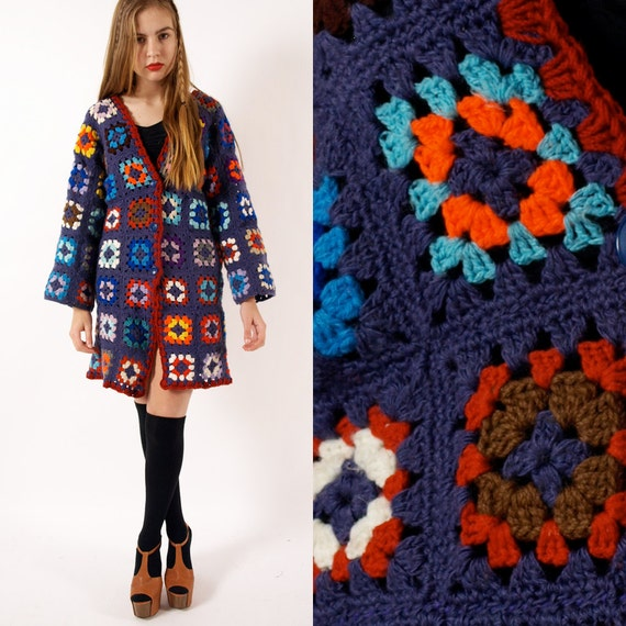 Crochet Patterns For Granny Square Sweaters : Vintage wool crochet granny square jacket cardigan S