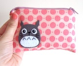 Small Totoro  pouch with awesome pink  fabric