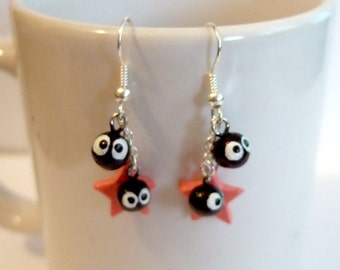 Soot sprite (kurosuke) dangle earrings from my neighbor totoro / spirited away  with pink star charm