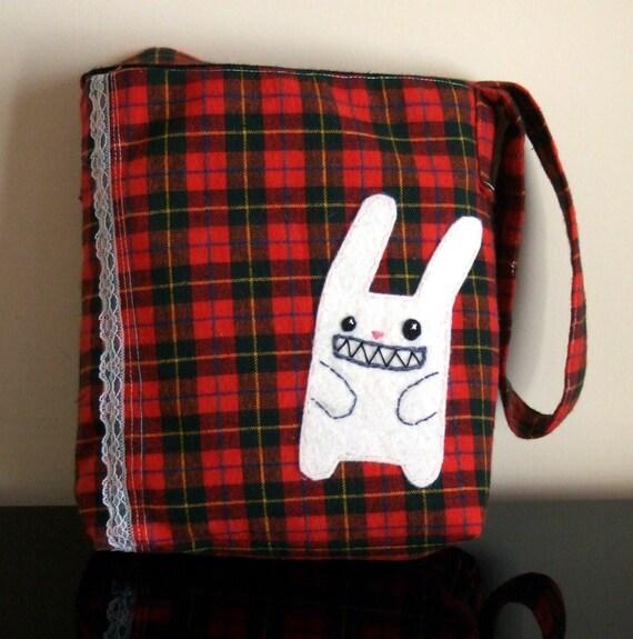 cute bunny plaid bag